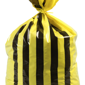 yellow and black heavy duty waste bag